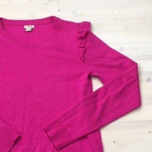J. Crew fuchsia ruffle shoulder sweater sz S